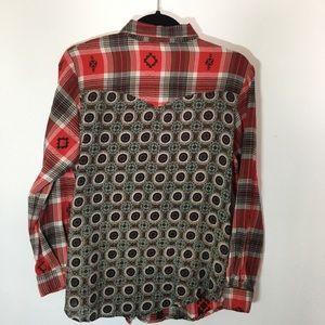 3cc9fa0985 lola p Tops - Lola P. Mix Print Embellished Flannel Shirt